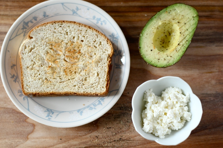 toast, avocado, ricotta cheese