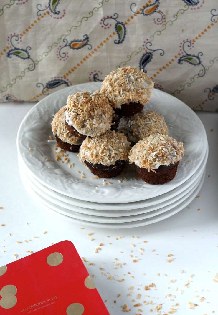 chocolate glazed doughnuts with toasted coconut