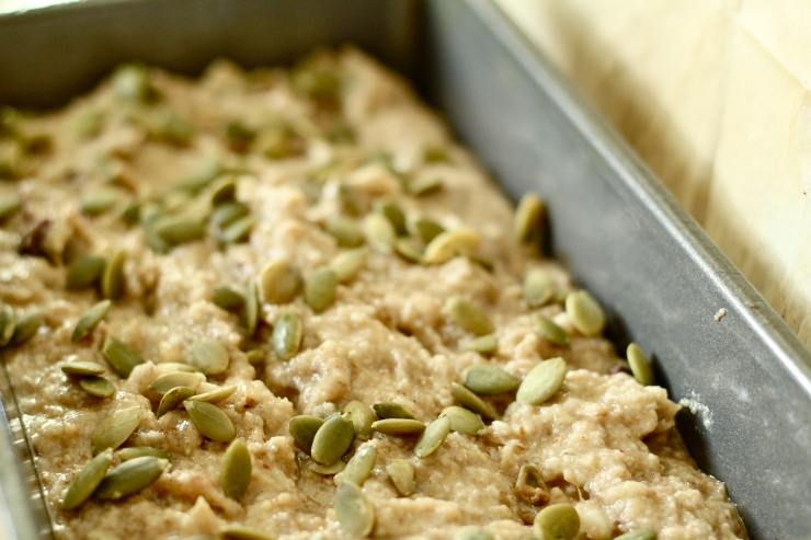 paleo banana bread with pepitas, unbaked