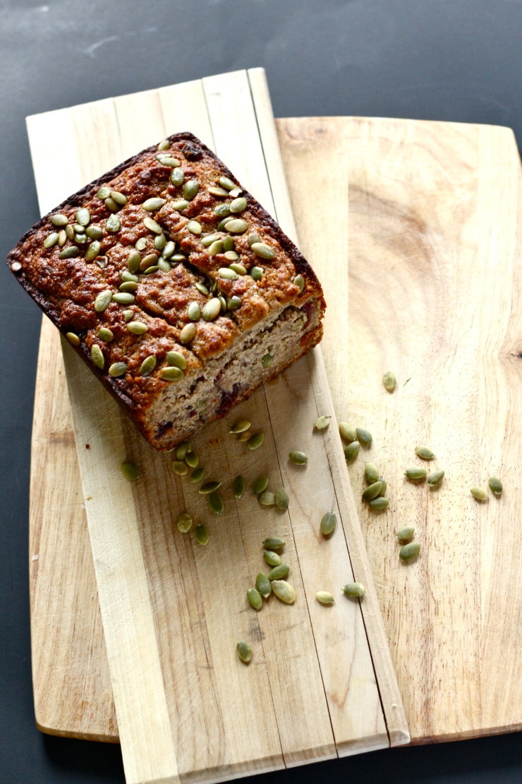 paleo banana bread with pepitas