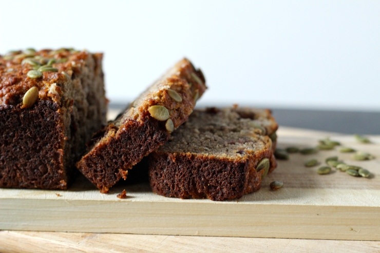 paleo banana bread with pepitas & craisins, sliced