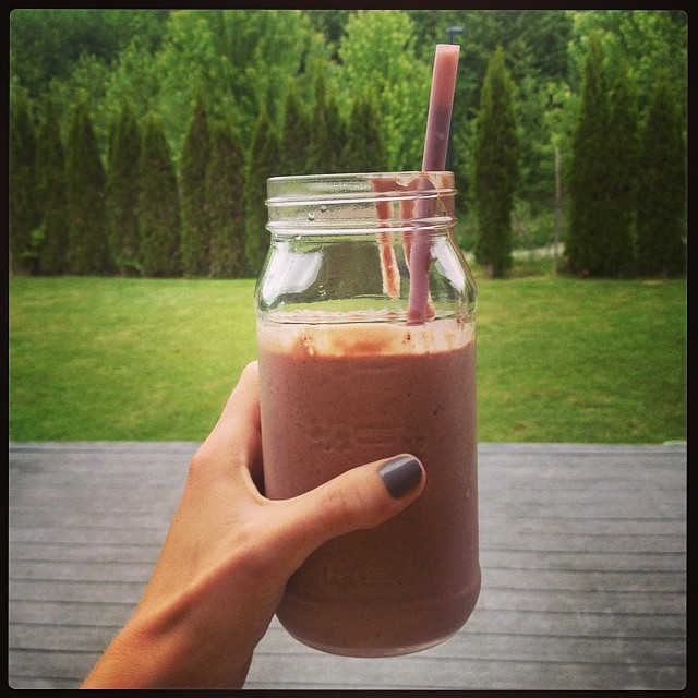 Raspberry Cocoa Banana Almond Milkshake by cheeky baker