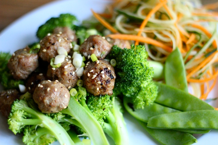 Ginger Mustard Meatballs & Broccoli with Cucumber Carrot Salad {gluten-free, dairy-free, sugar-free, paleo, 21 dsd friendly} by cheeky baker