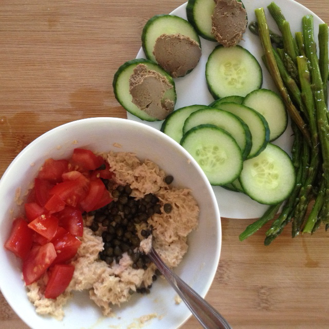Tuna Salad with Homemade Mayo, Capers, & Tomato, Chilled Asparagus & Cucumbers {21 dsd} by cheeky baker
